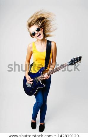 çığlık atan kadın kız oynama gitar sarışın Stok fotoğraf © dnsphotography