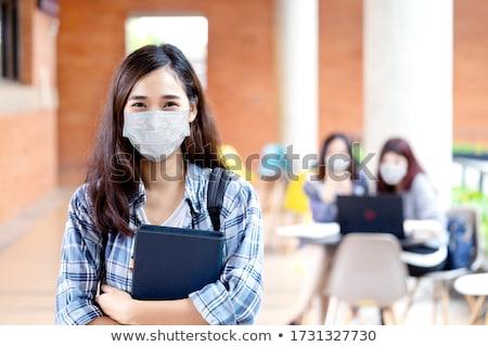 Kínai iskolás lány portré női diák iskolai egyenruha Stock fotó © cardmaverick2