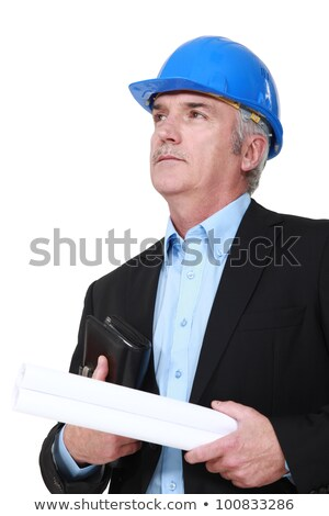 Grey-haired architect holding plans and agenda Stock photo © photography33