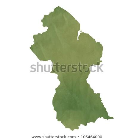öreg zöld papír térkép Guyana izolált Stock fotó © speedfighter