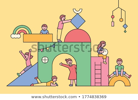 Young girl playing with blocks stock photo © photography33