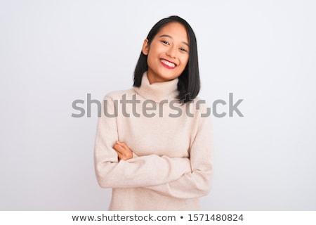 derűs · vonzó · fiatal · nő · arckrém · orr · törölköző - stock fotó © jayfish