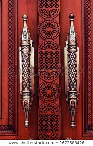 Vasaló fából készült kézzel készített kapu közelkép kéz Stock fotó © TheFull360