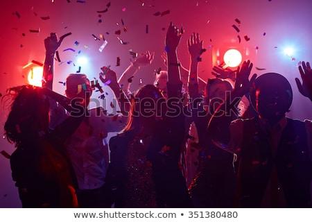 public · notes · de · musique · silhouette · excité · coloré · musique - photo stock © 4designersart