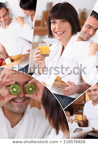 mosaic of pictures of a couple having breakfast Stock photo © photography33