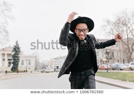 hideg · fiatal · afroamerikai · férfi · tánc · szürke - stock fotó © get4net