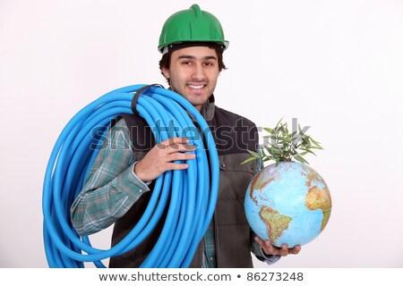Tubulação globo homem construção Foto stock © photography33