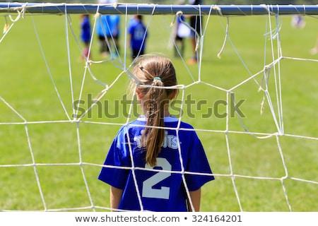 Stock fotó: Futball · lány · kapus · futballpálya · arc · sport