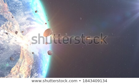Meteoor aarde hemel kaart maan Blauw Stockfoto © mariephoto