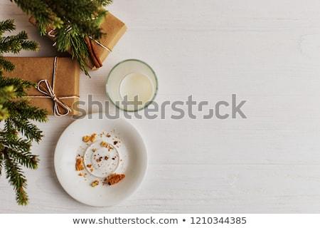 Noel kurabiye kırıntıları noel ağacı plaka noel baba Stok fotoğraf © saje