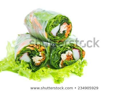 isolated spring roll and rice stock photo © m-studio