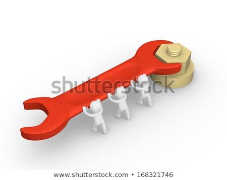 3d pessoas empurrando chave inglesa branco construção projeto Foto stock © Quka