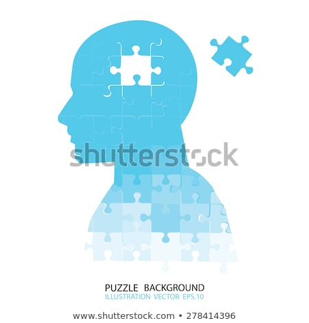 Missing piece puzzle head vector Stock photo © krabata