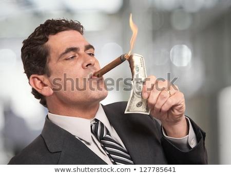 бизнесмен сигару деньги бизнеса костюм Финансы Сток-фото © photography33