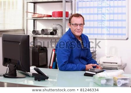 Fontanero escritorio oficina papel edificio pluma Foto stock © photography33