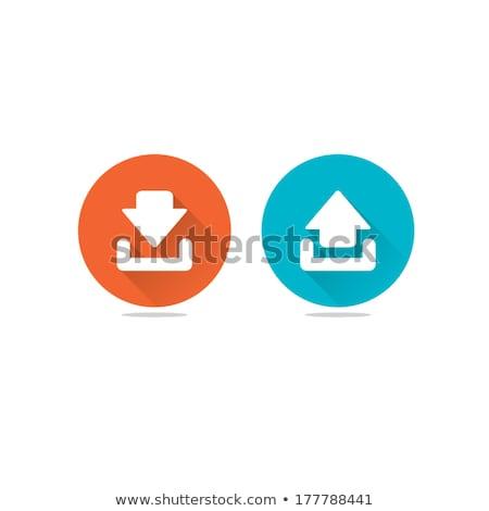 Absztrakt feltöltés letöltés ikon üzlet zöld zászló Stock fotó © pathakdesigner