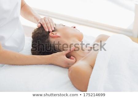 topless · mulher · pescoço · branco · mão - foto stock © wavebreak_media