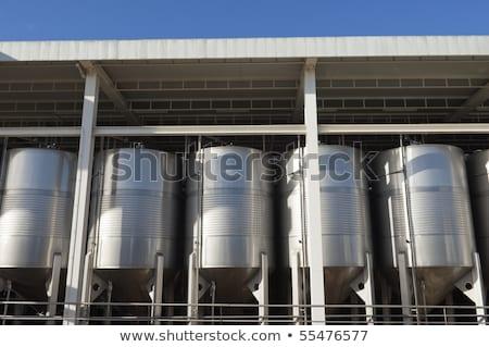 Modern borászat folyamat borkészítés ipari acél Stock fotó © ABBPhoto