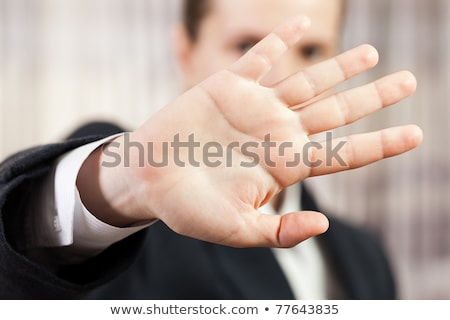 Stock photo: Shy business men hand gesture hide face stop sign