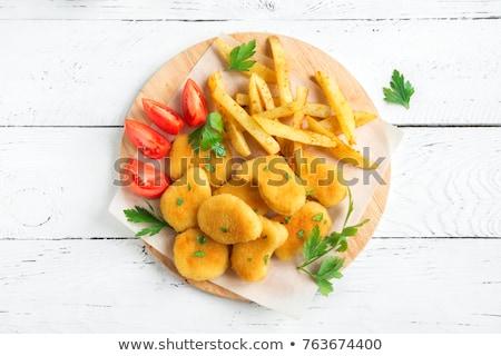 Сток-фото: куриные · фри · Салат · фон · обеда · пластина