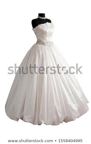 Stockfoto: Moderne · witte · trouwjurk · geïsoleerd · bal · weefsel