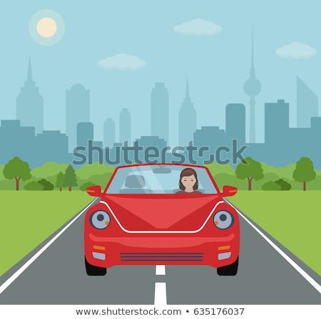 Elöl kilátás autó felhőkarcoló parkolás hely Stock fotó © 5xinc