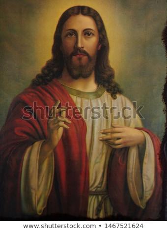 Иисус Христа иллюстрация силуэта закат Пасху Сток-фото © sognolucido