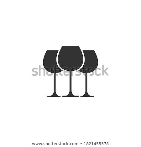 tres · gafas · vino · blanco · diferente · azul · primer · plano - foto stock © kubais