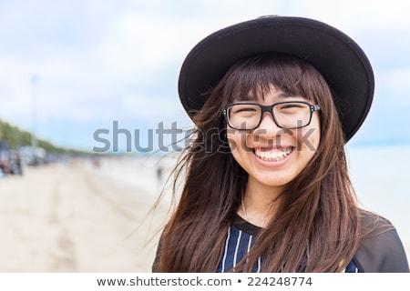 portre · güzel · genç · kız · oturma · plaj · kadın - stok fotoğraf © monkey_business