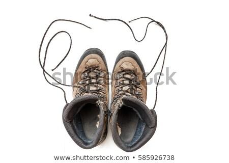 paire · vieux · sale · trekking · bottes · isolé - photo stock © tiero