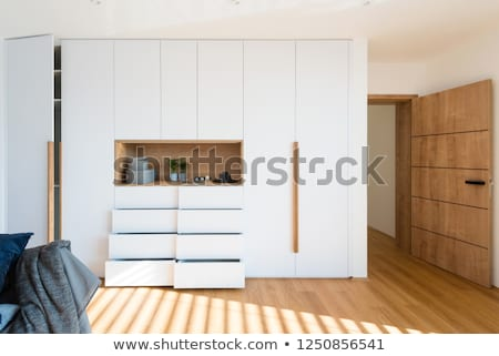 luxury classic bedroom interior design with wooden material stock photo © vizarch