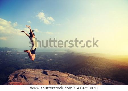 zomer · springen · portret · vier · springen · gelukkige · mensen - stockfoto © anna_om