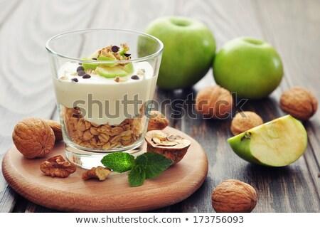 granola · bar · ahşap · masa · gıda · uygunluk · arka · plan - stok fotoğraf © m-studio