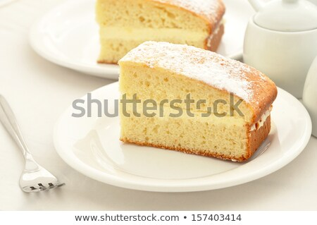 dos · rebanadas · limón · torta · blanco · placa - foto stock © raphotos