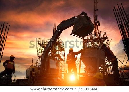 строительная площадка закат силуэта строительство рабочие рабочих Сток-фото © georgemuresan