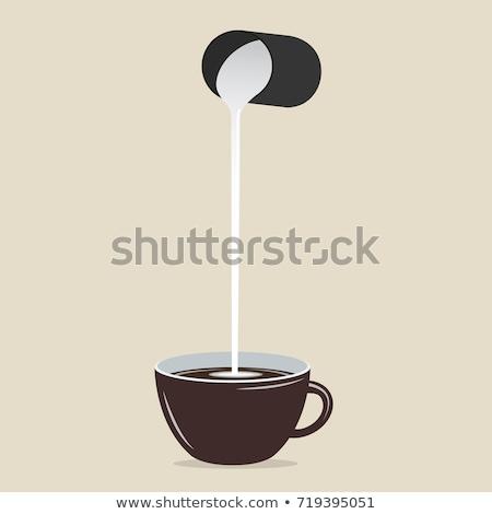melk · beker · zwarte · koffie · tabel - stockfoto © fotoaloja