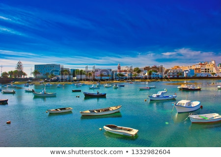 arrecife in lanzarote charco de san gines boats and promenade stock photo © meinzahn