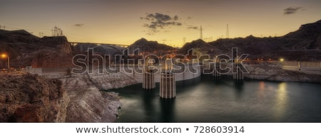 the hoover bridge from the hoover dam nevada   hdr image stock photo © capturelight
