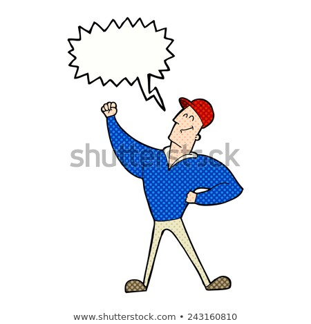 cartoon man striking heroic pose with speech bubble Stock photo © lineartestpilot