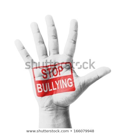 Stop megfélemlítés nyitva kéz piros felirat Stock fotó © tashatuvango