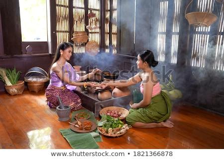 Tajska tradycyjny ubrania biały etnicznych szalik Zdjęcia stock © smithore