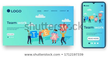 Hand holding smartphone with interface and business partners beh Stock photo © wavebreak_media