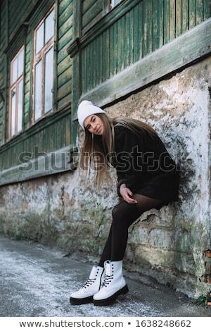 szexi · divat · modell · pulóver · visel · tél - stock fotó © neonshot