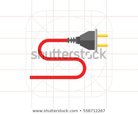 Plug знак красный вектора икона дизайна Сток-фото © rizwanali3d