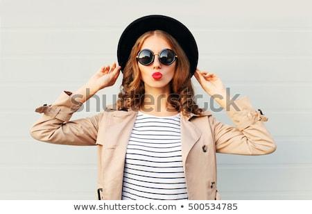 sensual · cabelo · belo · menina · lábios · vermelhos - foto stock © dolgachov