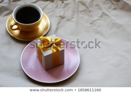 kahve · fincanı · renk · şerit · beyaz · doğum · günü · arka · plan - stok fotoğraf © teerawit