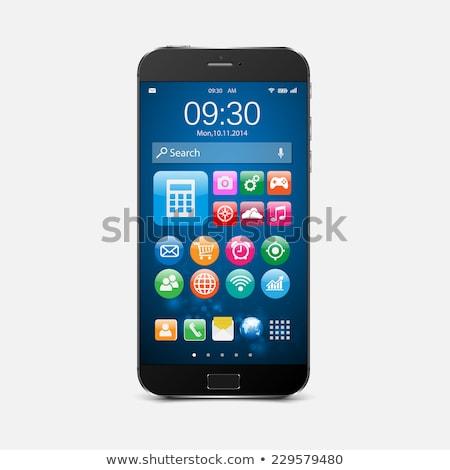 Stock fotó: Okostelefon · kék · vektor · ikon · gomb · háló