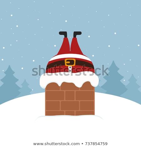 Kerstman schoorsteen illustratie maan winter silhouet Stockfoto © adrenalina