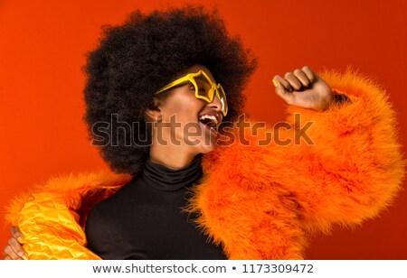 disco · África · mujer · hermosa · largo · pelo · rizado - foto stock © lubavnel