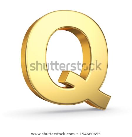 Litera q obyty złoty obiektu biały Zdjęcia stock © creisinger